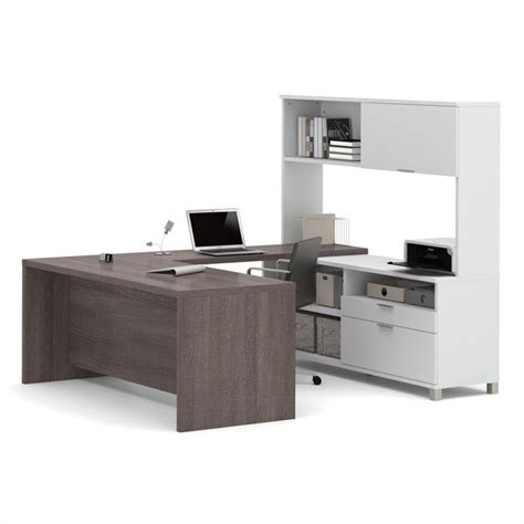 grey desk with hutch bestar pro linea u desk with hutch in white and bark grey