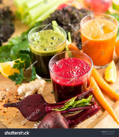 Squeezed Detox by Various Freshly Squeezed Vegetable Juices For Detox Stock