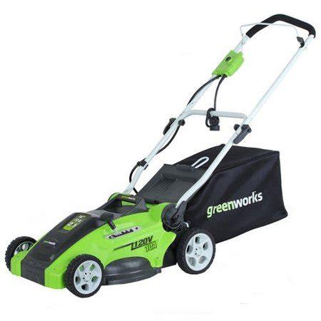 Lasika W F 82 Green greenworks 120v 16 quot electric lawn mower green walmart