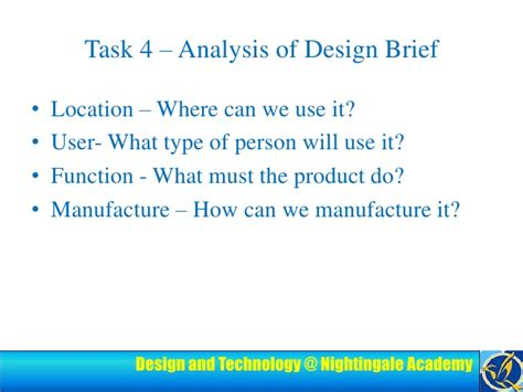 what does a design brief need target market need design brief