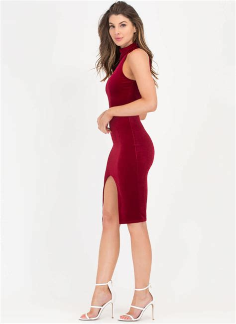 Dress Alaer Maroon Lg oh slit turtleneck velvet midi dress black royal burgundy gojane