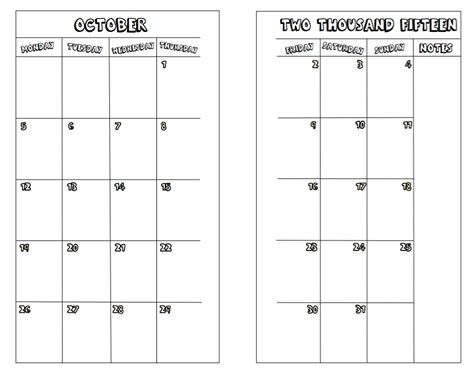 personal calendar freebies from jinny october 2016 personal size monthly