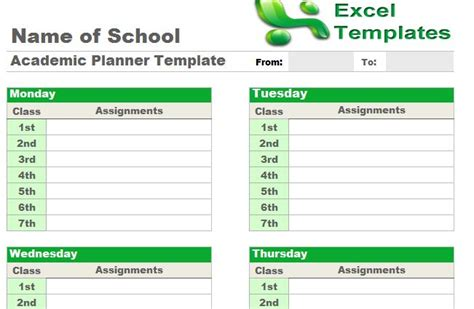 academic planner template academic planner template free academic planner