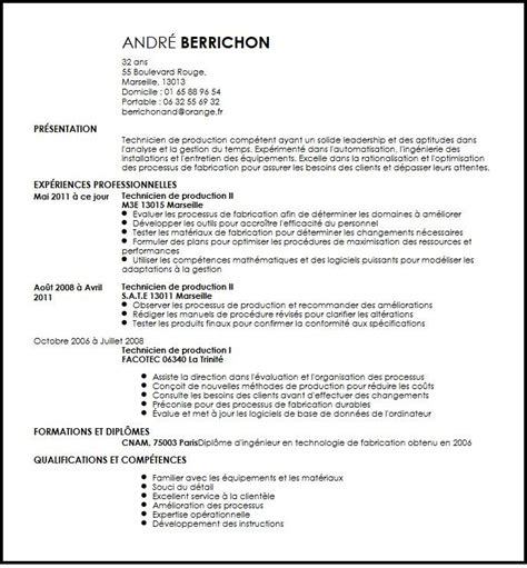 Lettre De Motivation De Operateur De Production cv technicien de production exemple cv technicien de