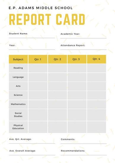 basic report card template white and yellow simple sprinkled middle school report