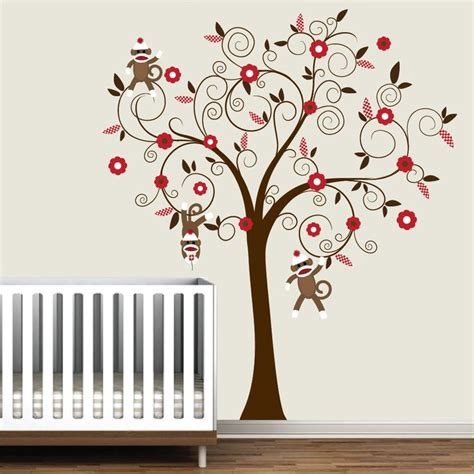 Monkey Wall Decals For Nursery Baby Vinyl Wall Decal Nursery Tree Wall Decal Sticker Monkey Sock Monkey Trees The O Jays And