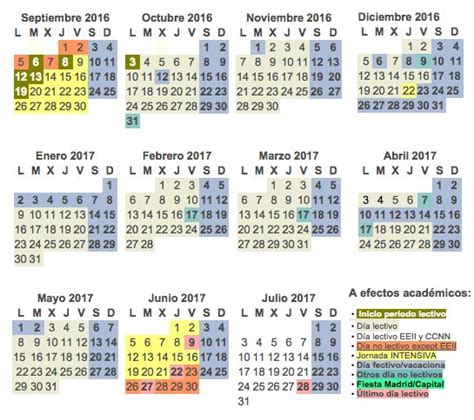 Calendario Escolar Madrid 2017 Calendario Escolar Curso 2016 2017 De La Comunidad De