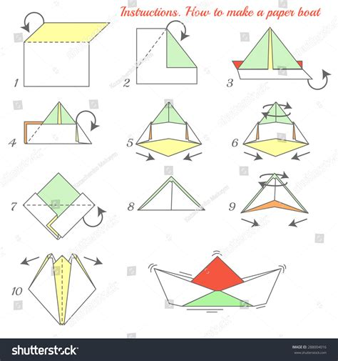 how to make a paper boat pdf instructions how make paper ship paper stock illustration