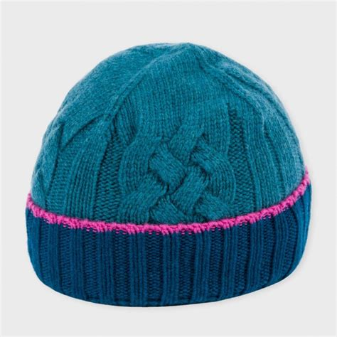 cable knit hats paul smith s teal cable knit wool beanie hat in teal