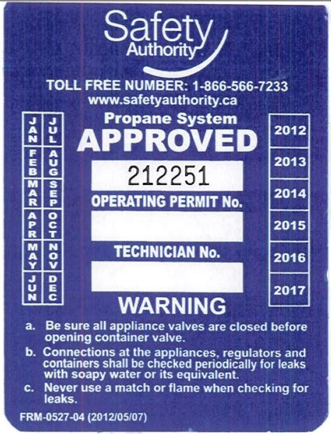 Propane Tank Recertification Sticker
