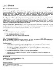 Resume For Store Manager by Retail Store Manager Resume Objective Retail Store Assistant Manager Resume Kabylepro
