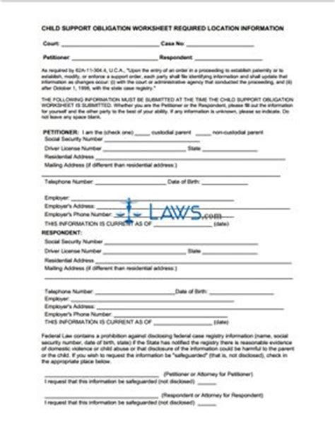 Maryland Search Child Support Child Support Obligation Worksheet Required Location Information Form Utah Forms