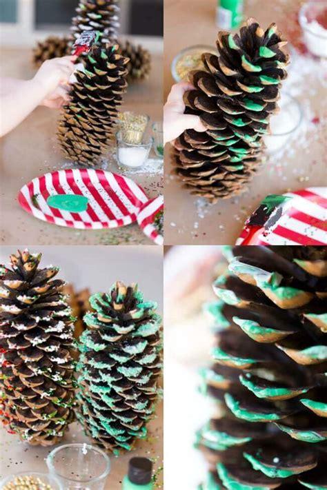 pine cone ornaments glitter pine cone craft idea for