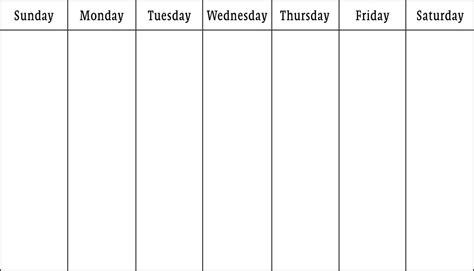 One Week Template blank calendars weekly blank calendar templates