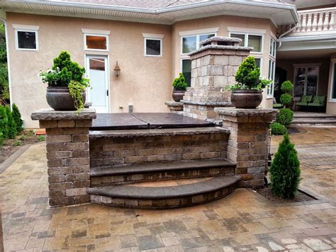 Patio Paver Photos With Hot Tubs Fireplace Hot Tub Tub Patio Designs