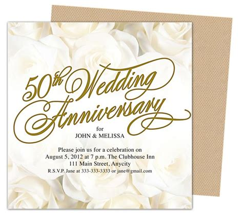 9 Best 25th 50th Wedding Anniversary Invitations Templates Images On Pinterest Anniversary 50th Anniversary Templates Free