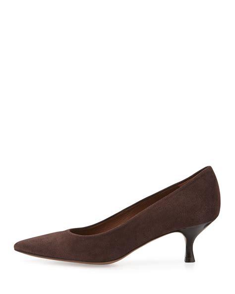 Soletopia Brown Low Heels donald j pliner rome suede pumps in brown lyst