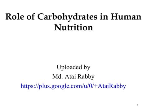 carbohydrates use in human of carbohydrates in human nutrition