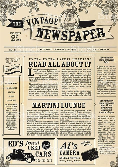 layout jornal ppt vintage newspaper layout design template stock vector art