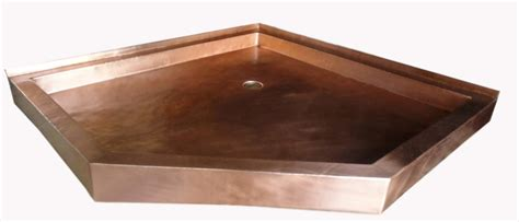 Metal Shower Pan by Copper Shower Pan Neo Angle Gorgeous Patinas