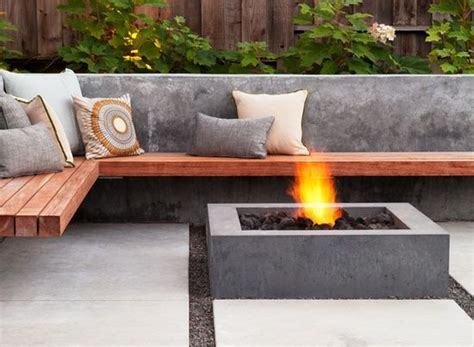 wooden fire pit bench cantilevered wood bench wraps around a low concrete fire