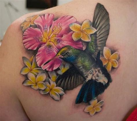 3d hummingbird tattoos color flowers and 3d hummingbird on back shoulder
