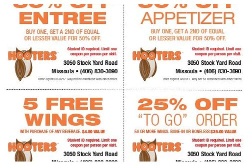 hooters coupons printable