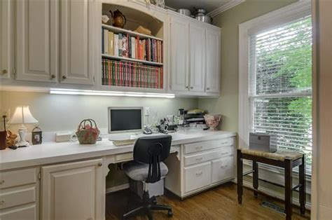 built in cabinets with desk i it omg