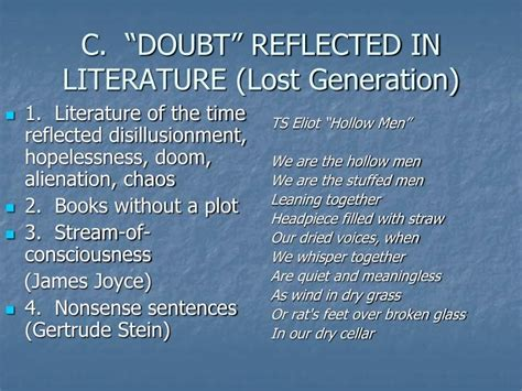 themes in lost generation literature ppt the great war powerpoint presentation id 3665804