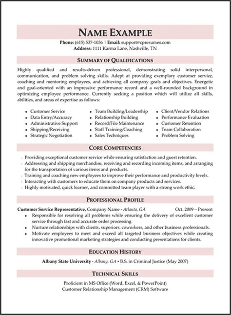 sle resume summary statement for customer service