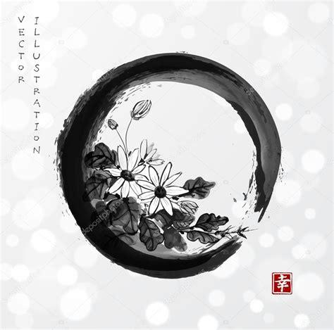 imagenes circulo zen flores de crisantemo en c 237 rculo zen enso vector de stock