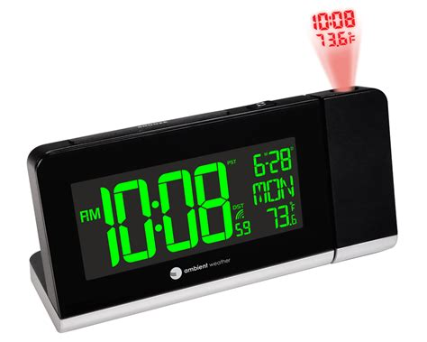 ambient weather rc 8465 radio controlled projection alarm clock with color changing