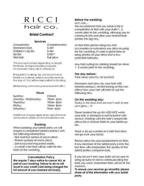 hair salon agreement bridalhaircotract bridal hair stylist contract