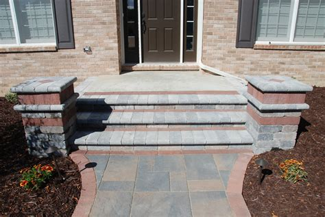 Unilock Steps unilock brick paver brussels tumbled pillars and steps unilock brick paver pillar cut