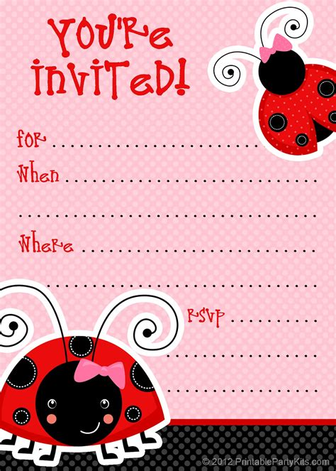 printable invitation template free printable invitations free ladybug invite template