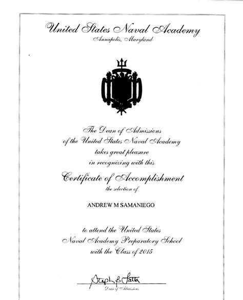 Letter Of Appointment Usna Achievements Andrewsamaniego