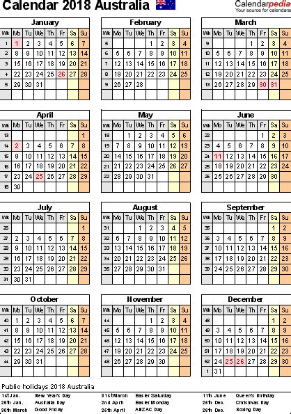 New Zealand Calendario 2018 Australia Calendar 2018 Free Printable Pdf Templates