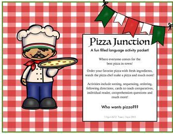 makes a pizza sequencing cards pizza junction a filled language activity packet