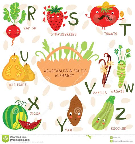 8 vegetables that start with b alphabet of fruit and vegetables r s t u v