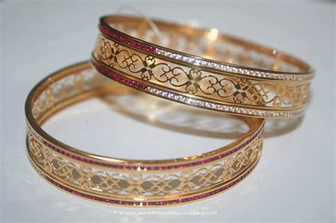 gold bangles  white red stones south india jewels