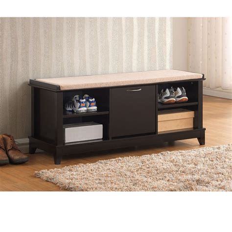 wood storage bench with cushion ramos contemporary brown solid wood shoe storage bench