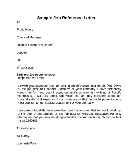 job reference letter templates