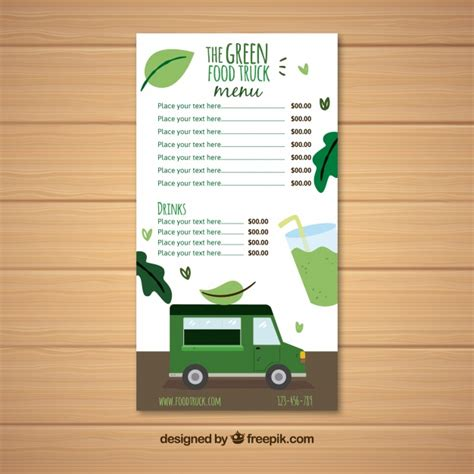 Vegan Food Truck Menu Template Vector Free Download Food Truck Menu Template