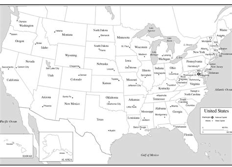 map of united states with states and capitals free coloring pages of states capitals