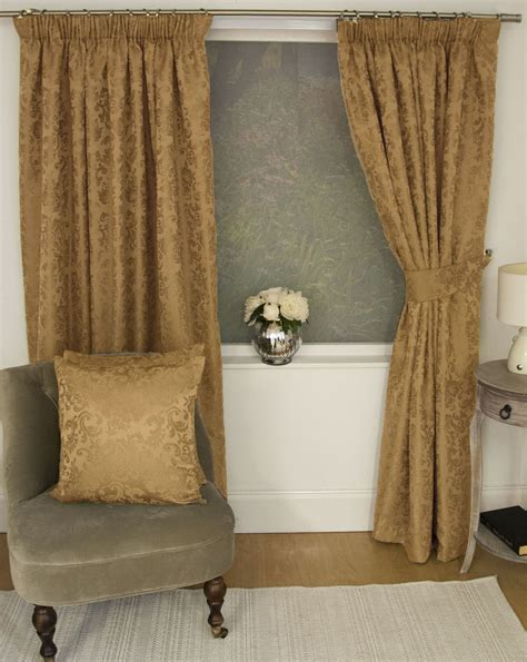 gold floral curtains jacquard floral damask gold lined pencil pleat curtains