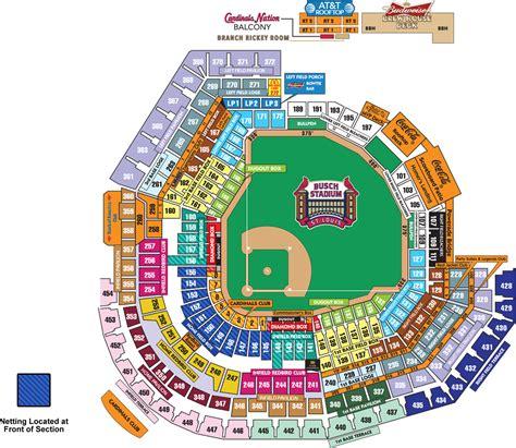 busch stadium section map busch stadium seating map mlb com