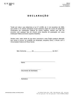 declara ç ã o - Universidade Federal de Minas Gerais
