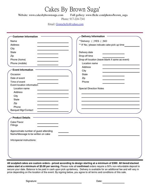 cake order form template cake order contract banquet event order form cake
