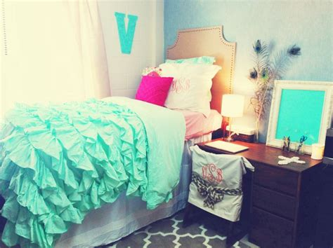 cute bedding for college teal ruffle bedding for a college dorm so college