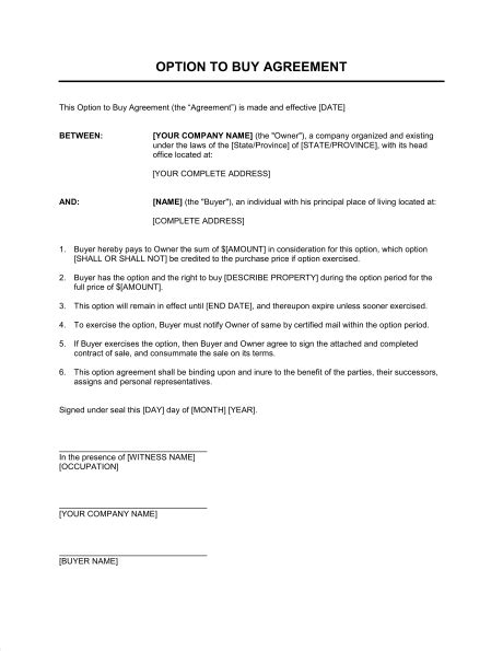option agreement template option to buy agreement template sle form biztree